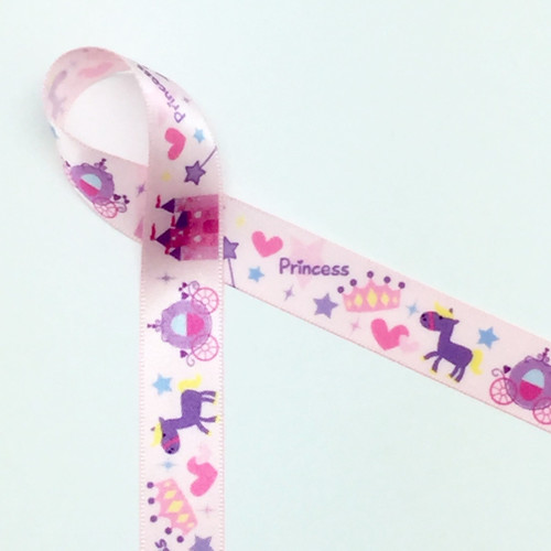 """Princess in Pink on 5/8"""" single face satin ribbon featuring all the important elements a regal little one could ever want!"""
