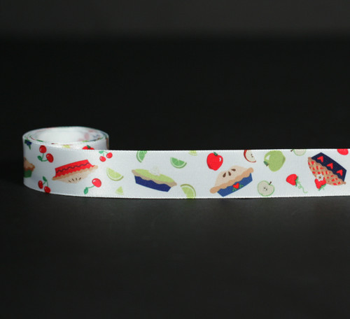 """Pies tossed with fruits on 7/8"""" white single face satin ribbon, 10 yards"""
