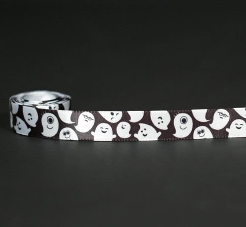 "Ghosts float along a black background on white 5/8"" single face satin ribbon, 10 Yards"