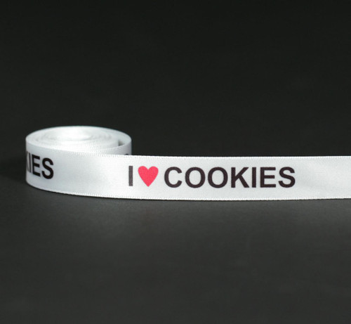 "I ( red Heart) Cookies in black ink on 5/8"" White single face satin ribbon, 10 Yards"