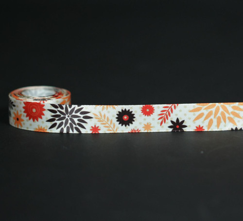 "Retro floral design in gold, rust and brown with a tone on tone polka dot background printed on 5/8"" Antique white single face satin ribbon. Offered in 10 and 90 yard spools."