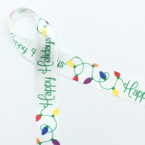 """Happy Holidays in green script with vintage holiday lights in red, orange, purple and blue on 5/8"""" white single face satin ribbon makes a fun addition to your small packages or favors."""