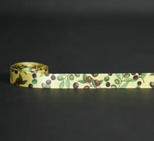 """Olives in dark purple and green on 5/8"""" Daffodil yellow single face satin ribbon, 10 Yards"""