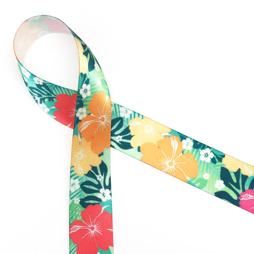 "Tropical Flowers with a green background on 7/8"" white satin ribbon, 10 Yards"