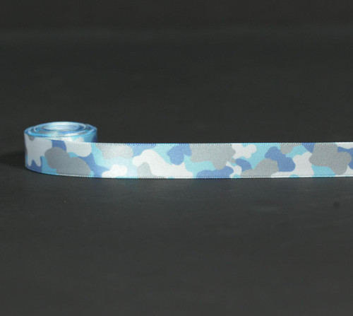 "Camouflage in Lt. blue and gray on 5/8"" White Single Face Satin Ribbon, 10 Yards"