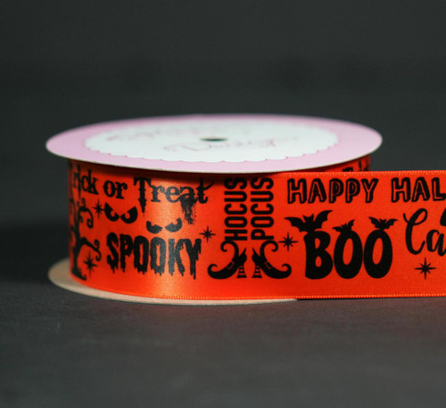 """Halloween word block ribbon printed with black ink on 1.5"""" orange single face satin ribbon is an ideal ribbon for decorating or tying towers of treats!"""