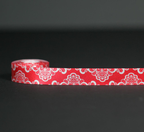 """White lace on a red background printed on 5/8"""" white single face satin will add a romantic touch to all your Valentine sweets!"""