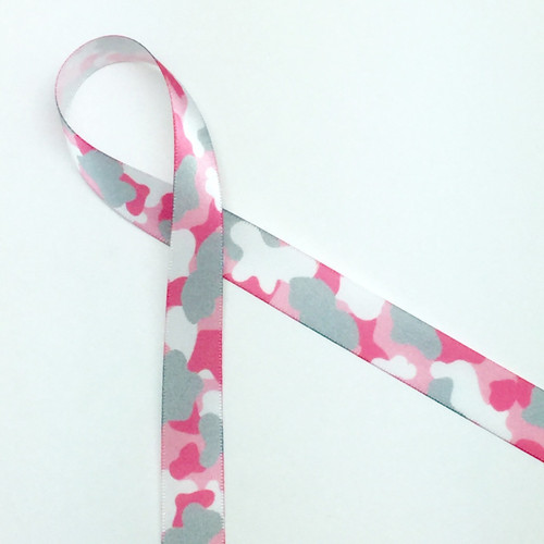 "Pink and gray camouflage print on 5/8"" white single face satin ribbon will add an element of fun to any girl baby gift! Designed and printed in the USA"