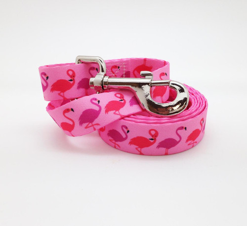 """A fun tropical design of pink and lavender flamingos on 1"""" wide sturdy webbing is a perfect addition to your dog's Spring and Summer wardrobe!"""