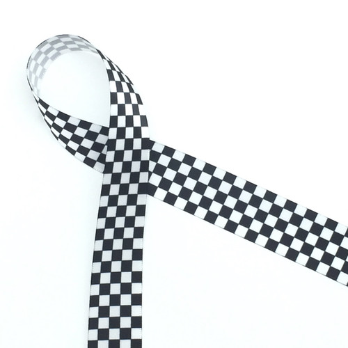 "Our black and white checkerboard ribbon printed on 7/8"" white single face satin ribbon is ready to announce the winner of the race!"
