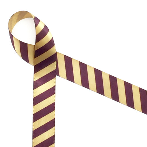 "Burgundy stripes on 5/8"" Dijon gold ribbon is a handsome addition to any gift!"