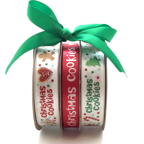 "Christmas Cookie Bundle pack including two spools of our 7/8"" Christmas Cookie ribbon and one spool of our 5/8"" Red ribbon with Christmas Cookies. All three are packaged at a special price!"