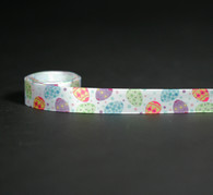 """Tossed Easter eggs with tiny polka dots on 5/8"""" single face satin ribbon, 10 yards"""