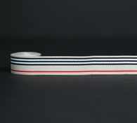 Stripes of Tan, white, black and red woven grosgrain ribbon, 10 Yards
