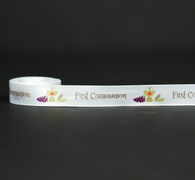 "First Communion ribbon with Chalice, Host and grapes on 5/8"" white single face satin ribbon 10 Yards"