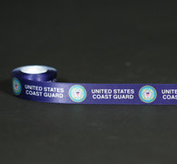"United States Coast Guard on a navy background printed on 5/8"" white single face satin ribbon,10 yards"