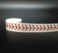"""Baseball stitching in red on 5/8"""" white single face satin ribbon will make any baseball themed gift or favor a sure home run!"""