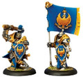 Cygnar Sword Knight Major & Standard Bearer