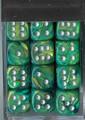 Lustrous 12Mm D6 Grn/Svr Dice Blk