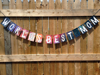World's Best Mom Garland. Perfect Mothers day decoration, space mom, mothers day, holiday decor, paper banner, grandma, nana, galactic