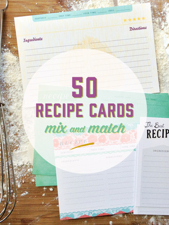 50 Mix and Match 4x6 Recipe Cards in a Muslin Bag
