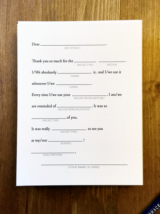 12 Humorous Fill-In Thank You Cards