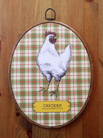 Chicken Fabric Oval Art Print