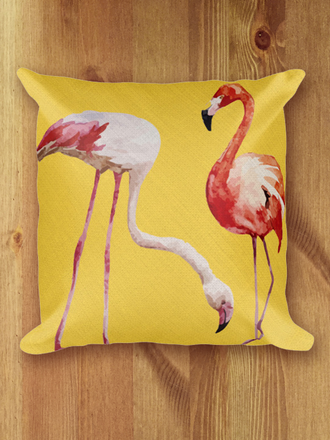 Yellow Tropicale Flamingo Pillow