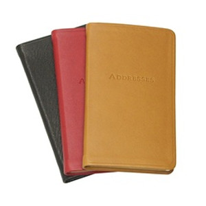 Pocket Address Book - Smooth Traditional Smooth Leather Black, Red, British Tan