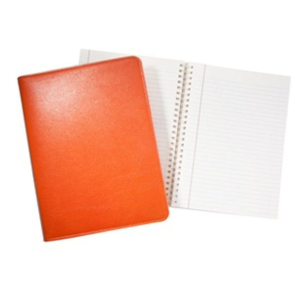"""Refillable Journal 7x9"""" Bright Orange Leather"""