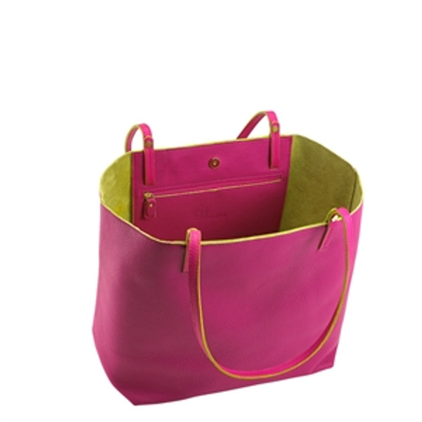 Sunset Pink Leather Tote with chartreuse Interior