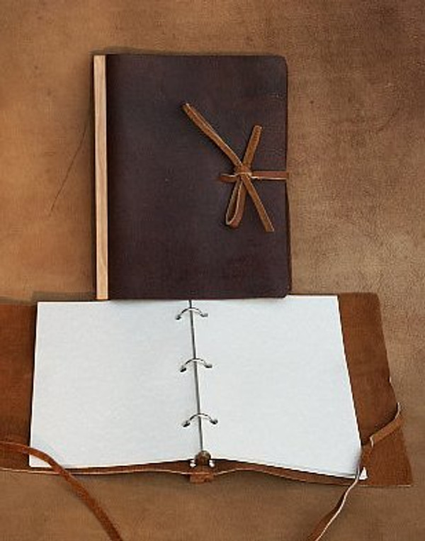 """Recycled 9 x 12"""" Refillable journal with lanyard tie in Dark Chocolate Brown"""