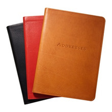 "5 3/8 x 7 3/8"" Leather Address Book - Smooth Traditional Leather Colors - Black, Red, British Tan"