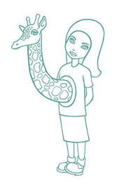 Tara McPherson Giraffe Girl Silkscreen Art Print Image