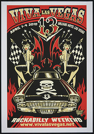Vince Ray Viva Las Vegas #13 Silkscreen Event Poster 2010 Image