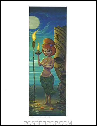 Aaron Marshall Red Head Hula Girl Signed 8-1/2 x 11' Print Image