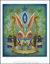 Aaron Marshall Magic Bunny Hand Signed Artist Print  8-1/2 x 11