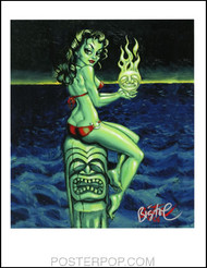 BigToe Green Goddess Hand Signed Artist Print  8-1/2 x 11