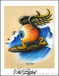 Von Franco Surfing Eyeball Hand Signed Artist Print  8-1/2 x 11 Image