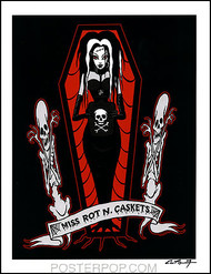 Pigors Miss Rot N Caskets Hand Signed Artist Print  8-1/2 x 11 Image