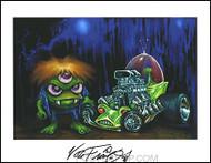 Von Franco Alien Rod Hand Signed Artist Print  8-1/2 x 11