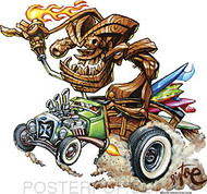 BigToe Surfin Tiki Rod Sticker Image