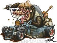 BigToe Hotrod Bear Sticker