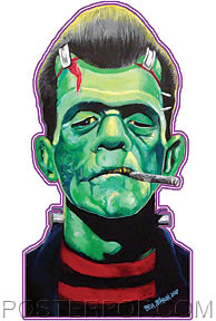 Artist Ben Von Strawn Franken-Stogy Frankenstein Sticker by Poster Pop. Rockabilly Beatnik Frankenstein Monster with Greaser Pompadour Hair, Striped Shirt and Cigar