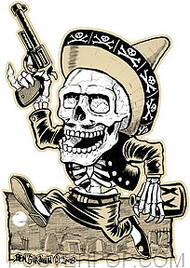 Artist Ben Von Strawn Muertos Car Sticker decal by Poster Pop. Mexican Day of the Dead Drinking Drunk Skeleton with Sombrero, Pistol and Bottle running through a Grave Yard.