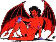 Coop Winged Devil Girl Sticker Image