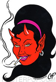 Coop Smokin' Devil Girl Sticker Image