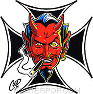 Coop Iron Cross Devil Sticker Image