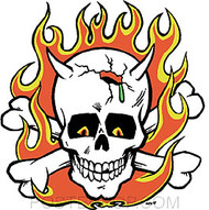 Kozik Flaming Skull Sticker