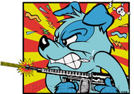 Kozik Mad Dog Sticker Image